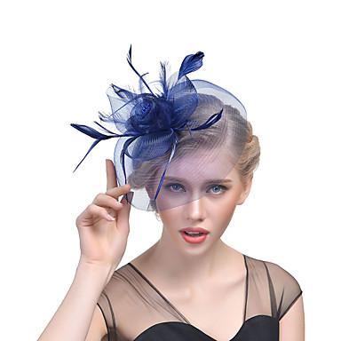 Hatut / Fascinator Hat Aikuisten Vintage / Halloween Kaikki Pinkki / Valkoinen / Beesi Tylli / Sulka Naamiaiset Hääjuhla Cosplay-tarvikkeet Joulu / Halloween / Karnevaali Puvut