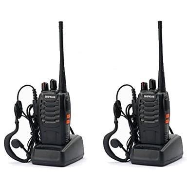billige Walkie-talkies-2 stk baofeng bf-888s oppladbar lang rekkevidde 5w toveis radio walkie talkies 16 kanals håndholdt radio innebygd led fakkel + headset håndholdt bærbar uhf400-470mhz