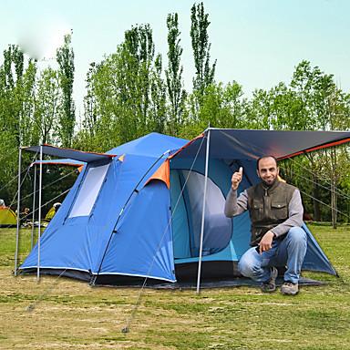 6 شخص خيمة التخييم العائلية في الهواء الطلق ضد الهواء مكتشف الأمطار التنفس إمكانية طبقة واحدة قطب الماسورة خيمة التخييم 2000-3000 mm إلى صيد السمك التسلق Camping / Hiking / Caving بوليستر