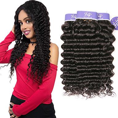 baratos Extensões de Cabelo Natural-3 pacotes Cabelo Malaio Onda Profunda Não processado Cabelo Natural 100% Remy Hair Weave Bundles Cabelo Humano Ondulado Extensor Cabelo Bundle 8-28 polegada Natural Tramas de cabelo humano Sedoso