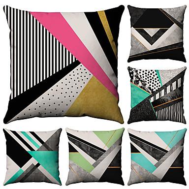 billige Putevar-6 stk Bomull / Lin Putevar, Geometrisk Mote Printer Geometrisk Mønstret