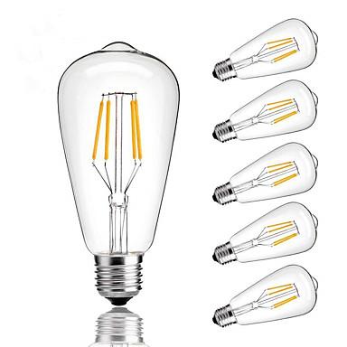 6kpl 4 W LED-hehkulamput 360 lm E26 / E27 ST64 4 LED-helmet COB Himmennettävissä Lämmin valkoinen Kylmä valkoinen Neutraali valkoinen 220-240 V