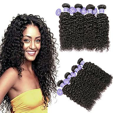 baratos Extensões de Cabelo Natural-4 pacotes Cabelo Malaio Kinky Curly Não processado Cabelo Natural 100% Remy Hair Weave Bundles Peça para Cabeça Cabelo Humano Ondulado Cabelo Bundle 8-28 polegada Côr Natural Tramas de cabelo humano