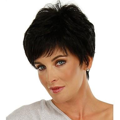 Otsatukat Suora Tyyli Sivuosa Suojuksettomat Peruukki Musta Musta ja kulta Synteettiset hiukset 12 inch Naisten Klassinen / Naisten / synteettinen Musta Peruukki Lyhyt Luonnollinen peruukki