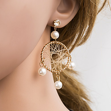 voordelige Oorbellen-Dames Veelkleurig Parel Gevlochten Druppel oorbellen Parel Gesimuleerde diamant oorbellen Koreaans Sieraden Goud Voor Dagelijks 1 paar