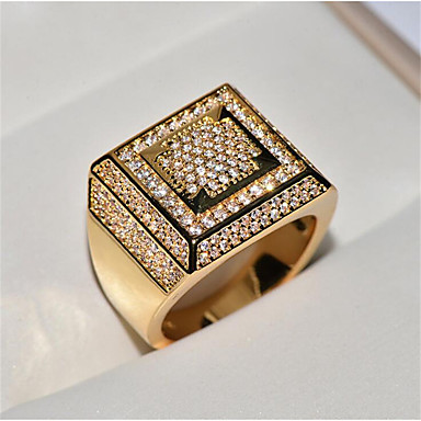 4519fa647ad3c6 Men's Cubic Zirconia Classic Ring Stylish Hip Hop Iced Out Ring Jewelry  Gold / White For Party Daily 8 / 9 / 10 / 11 / 12