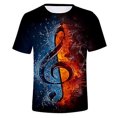 povoljno Holidays-Majica s rukavima Muškarci Dnevno Color block / 3D Okrugli izrez Crn XXXXL / Kratkih rukava