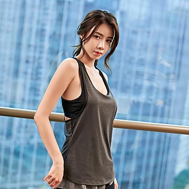 Naisten Patchwork Yoga Top Urheilu Color Block Hihaton Topit Jooga Juoksu Fitness Hihaton Activewear Hengittävä Nopea kuivuminen Hikeä siirtävä Elastinen