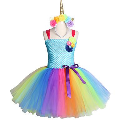Χαμηλού Κόστους Φορέματα για κορίτσια-χειροποίητα παιδικά καραμέλα μονόκερος λουλούδι Χριστουγεννιάτικο φόρεμα πριγκίπισσα κοστούμι κεφαλόδεσμου