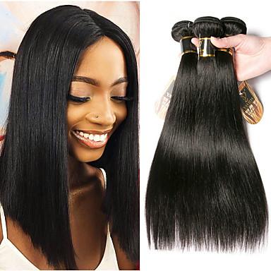 baratos Extensões de Cabelo Natural-3 pacotes Cabelo Malaio Liso 100% Remy Hair Weave Bundles Cabelo Humano Ondulado Cabelo Bundle Extensões de Cabelo Natural 8-28 polegada Côr Natural Tramas de cabelo humano Suave Melhor qualidade