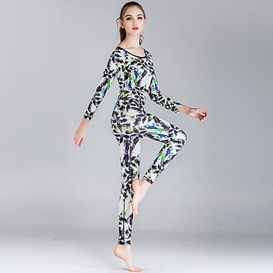 Naisten Jooga Suit Urheilu Color Block Elastaani Liikunta-asut Jooga Kuntosaliharjoitus Lyhythihainen Activewear Pidä lämpimänä Hengittävä Nopea kuivuminen Hikeä siirtävä Erittäin elastinen