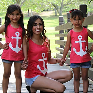 2b97ad94a Mommy and Me Active Basic Geometric Bow Print Sleeveless Regular Regular  Cotton Polyester Tank   Cami Red