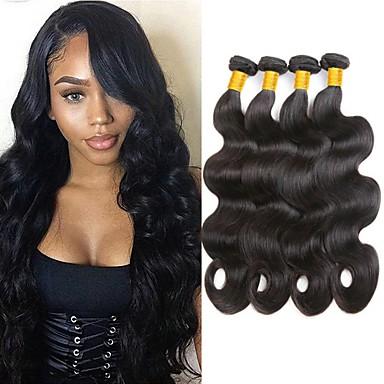 4 pakker malaysisk hår Krop Bølge Remy Menneskehår Hovedstykke Menneskehår, Bølget Bundle Hair 8-28 inch Naturlig Farve Menneskehår Vævninger Kreativ Blød Mode Menneskehår Extensions Dame