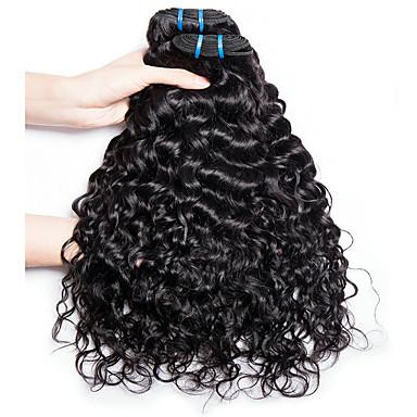 baratos Extensões de Cabelo Natural-4 pacotes Cabelo Indiano Onda de Água Cabelo Natural Remy Não processado Cabelo Natural Cabelo Humano Ondulado Cabelo Bundle Extensões de Cabelo Natural 8-28inch Côr Natural Tramas de cabelo humano