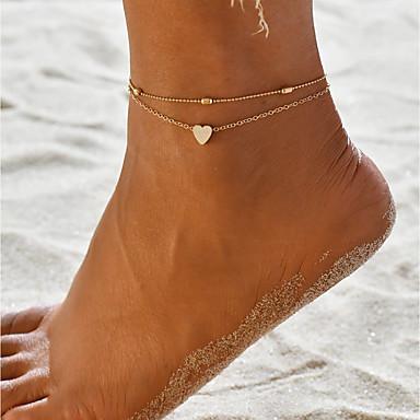 billige Kropssmykker-Dame Ankel Armbånd fødder smykker Hjerte Simple Hotwife Ankel Smykker Guld Til Daglig Karneval Gade Ferie Natklub