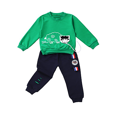 ieftine Haine Bebeluși Băieți-Bebelus Băieți Activ / De Bază Mată / Imprimeu Imprimeu Manșon Lung Regular Regular Bumbac / Poliester Set Îmbrăcăminte Trifoi