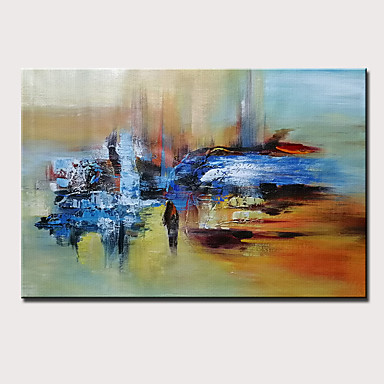 Hang-Painted öljymaalaus Maalattu - Abstrakti Moderni Sisällytä Inner Frame / Venytetty kangas