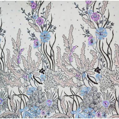 Tylli Kukkakuviot Kirjottu 125 cm leveys kangas varten Vaatteet ja muoti myyty mukaan mittari
