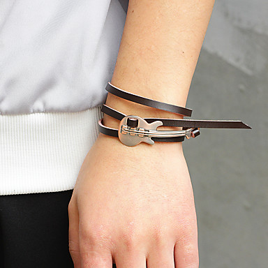 abordables Bracelet-Bracelets Plusieurs Tours Bracelets Vintage Bracelets en cuir Homme Classique Cuir Musique Guitare Tissage simple Branché Décontracté / Sport Mode Bracelet Bijoux Noir Café Marron pour