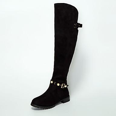 povoljno Ženske čizme-Žene Brušena koža / Ovčja koža Zima Čizme Ravna potpetica Čizme preko koljena Crn
