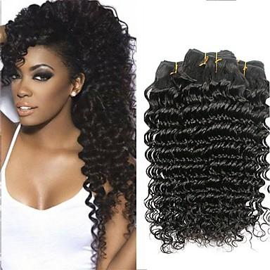 baratos Extensões de Cabelo Natural-4 pacotes Cabelo Indiano Onda Profunda 100% Remy Hair Weave Bundles Cabelo Humano Ondulado Cabelo Bundle Extensões de Cabelo Natural 8-28 polegada Côr Natural Tramas de cabelo humano Sem Cheiros