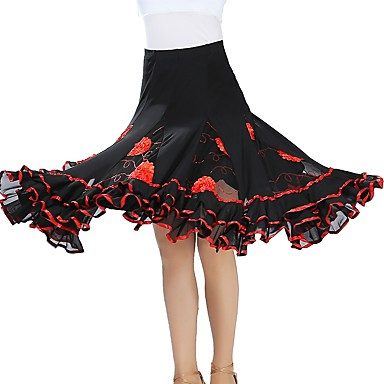 cheap Dancewear & Dance Shoes-Ballroom Dance Bottoms Women's Training / Performance Tulle Scattered Bead Floral Motif Style / Gore Natural Skirts