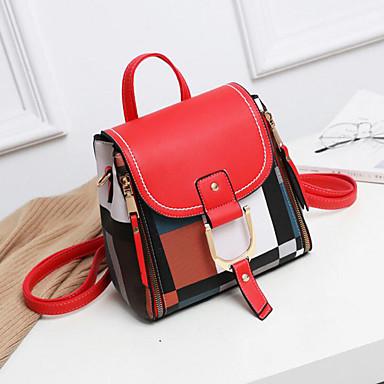 abordables Sacs-Femme Sacs PU sac à dos Fermeture Bloc de Couleur Orange / Rouge / Noir / blanc