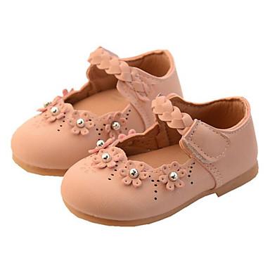 voordelige Babyschoenentjes-Meisjes Comfortabel / Eerste schoentjes Imitatieleer Platte schoenen Zuigelingen (0-9m) / Peuter (9m-4ys) Beige / Roze Lente