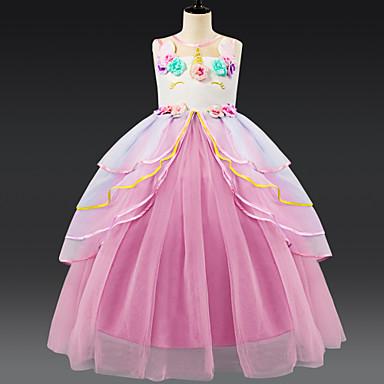 c9c44a594ec Παιδιά Κοριτσίστικα Ενεργό / Γλυκός Patchwork Πολυεπίπεδο Αμάνικο Ως το  Γόνατο Φόρεμα Ανθισμένο Ροζ