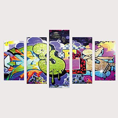 voordelige Prints-Print Rolde canvasafdrukken Afdrukken Op Opgespannen Doek - Kunst Cartoon Vintage Modern Vijf panelen Kunstafdrukken