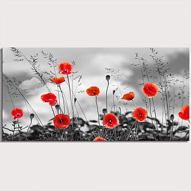 billige Trykk-Trykk Strukket Lerret Trykk - Botanisk Blomstret / Botanisk Moderne Kunsttrykk