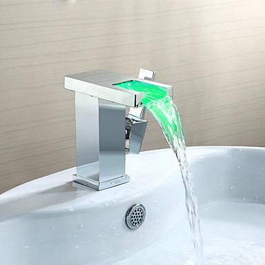 Kylpyhuone Sink hana - Vesiputous / LED Kromi Integroitu Yksi kahva yksi reikäBath Taps
