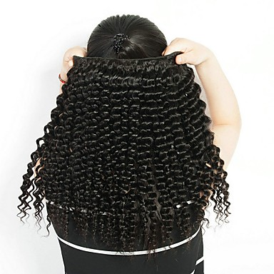 3 pakettia Brasilialainen Syvät aallot Remy-hius Headpiece Hiukset kutoo Pidentäjä 8-28 inch Luonnollinen väri Hiukset kutoo Pehmeä Muoti Paksu Hiukset Extensions Naisten