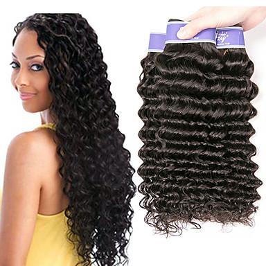 baratos Extensões de Cabelo Natural-4 pacotes Cabelo Brasileiro Onda Profunda 100% Remy Hair Weave Bundles Cabelo Humano Ondulado Cabelo Bundle Extensões de Cabelo Natural 8-28 polegada Natural Tramas de cabelo humano Sem Cheiros