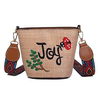 baratos Super Ofertas-Mulheres Palha Bolsa Transversal Saco de Palha Floral Bege / Khaki / Outono & inverno