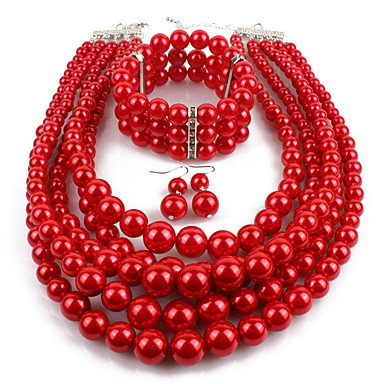 cheap Party Accessories-Women's Pearl Layered Jewelry Set Imitation Pearl Statement, Ladies, Asian, Elegant Include Drop Earrings Pearl Strands Pearl Necklace Red / Wine / Grey For Casual Evening Party