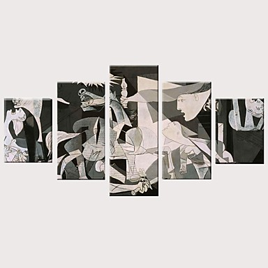 Painettu Valssatut kangasjulisteet Pingoitetut kanvasprintit - Moderni Vintage Teema Vintage Moderni 5 paneeli Art Prints