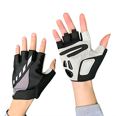 cheap Bike Gloves / Cycling Gloves-Bike Gloves / Cycling Gloves Mountain Bike Gloves Thermal / Warm Windproof Padded Anti-Slip Half Finger Sports Gloves Lycra Silicone Gel Mountain Bike MTB Black for Adults' Fitness Gym Workout