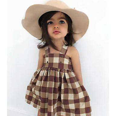 a18a16b5a bebê Para Meninas Activo   Básico Estampado Estampado Sem Manga Acima do  Joelho Algodão Vestido Marron