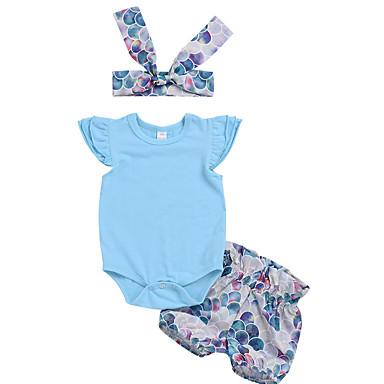 543d92f8462a Χαμηλού Κόστους Βρεφικά σετ ρούχων-Μωρό Κοριτσίστικα Βασικό Μονόχρωμο Κοντομάνικο  Κανονικό Πολυεστέρας Σετ Ρούχων Μπλε
