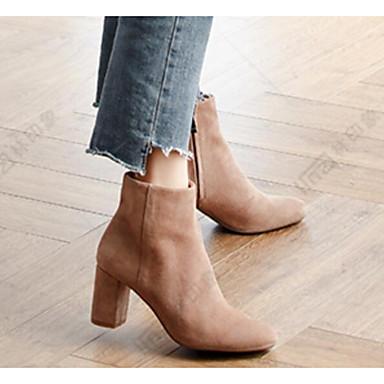 povoljno Ženske čizme-Žene Ovčja koža Jesen zima Čizme Kockasta potpetica Čizme gležnjače / do gležnja Crn / Badem