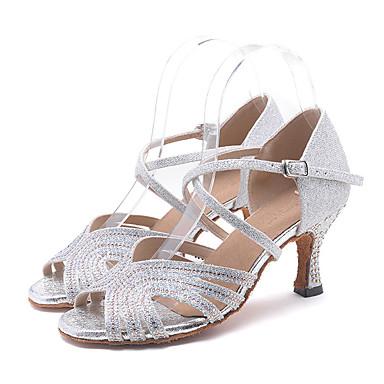 abordables Meilleures Ventes-Femme Chaussures de danse Matière synthétique Chaussures Latines Fantaisie Talon Talon Bobine Personnalisables Argent / Vert / Rose / Utilisation / Cuir