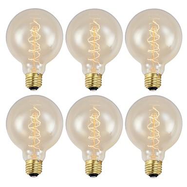 billige Elpærer-6pcsglobe pærer 40w g95 220-240v antikke pærer vintage filament pære dimbar e27 amber 2200k