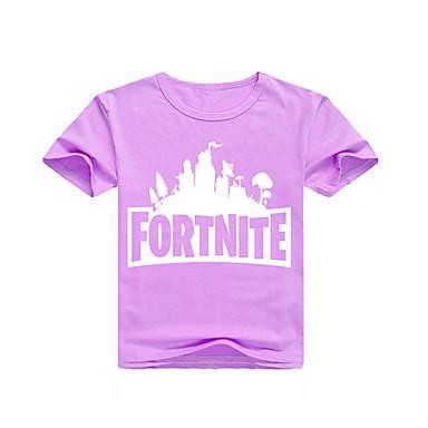 baratos Camisas para Meninos-Infantil Para Meninos Moda de Rua Estampado Estampado Manga Curta Camiseta Rosa