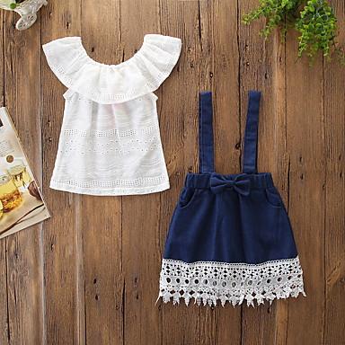 رخيصةأون ملابس الرضع-مجموعة ملابس بدون كم ورد للفتيات طفل