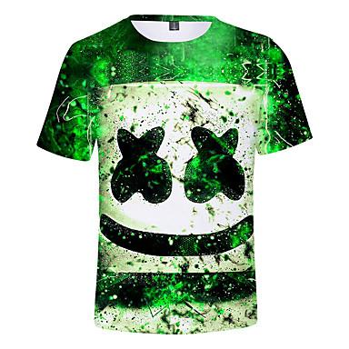 baratos Camisas para Meninos-Infantil Para Meninos Activo Estampado Manga Curta Algodão Camiseta Verde