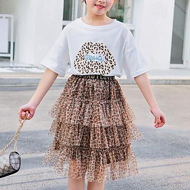 baratos Conjuntos para Meninas-Infantil Para Meninas Activo Moda de Rua Estampado Leopardo Com Transparência Estampado Manga Curta Padrão Conjunto Branco