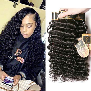 baratos Extensões de Cabelo Natural-3 pacotes Cabelo Brasileiro Onda Profunda 100% Remy Hair Weave Bundles Cabelo Humano Ondulado Um Pacote de Solução Extensões de Cabelo Natural 8-28 polegada Côr Natural Tramas de cabelo humano Sem