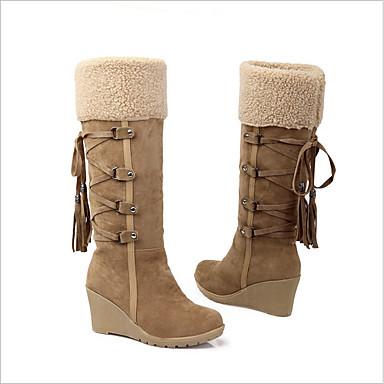 povoljno Ženske čizme-Žene Eko koža Jesen zima Čizme Wedge Heel Crn / Bež / Braon