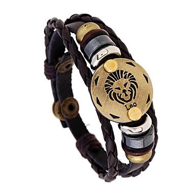 voordelige Herensieraden-Heren Lederen armbanden Yoga Maagd Taurus Vis Punk Leder Armband sieraden Bruin Voor Dagelijks Festival